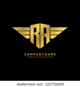 Initial R A wing logo template vector