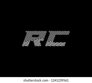Initial RC letter abstract pattern race flag monogram logotype