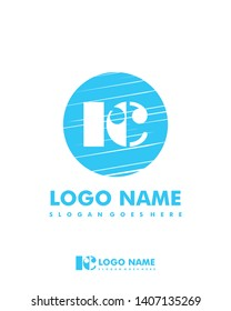 Initial RC negative space logo with circle template