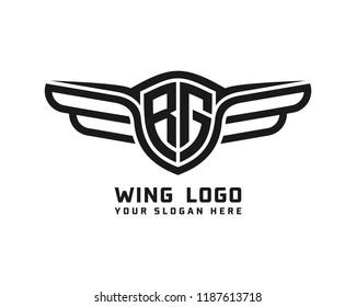 Initial RG wing logo template vector