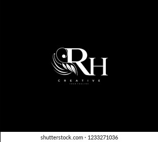 Initial RH letter luxury beauty flourishes ornament monogram logo