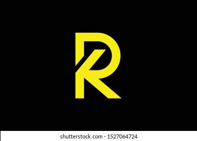 Initial RK KR PK KP modern monogram and elegant logo design, Professional Letters Vector Icon Logo on black background.