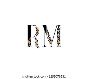 Initial RM Letter with Luxury Leopard Pattern Logotype