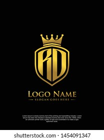 initial RO, RD letter with shield style logo template vector