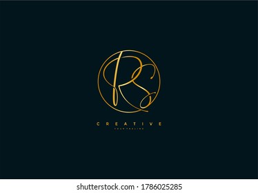 Initial RS Inside Simple Shape Circle Signature Golden Color Logotype