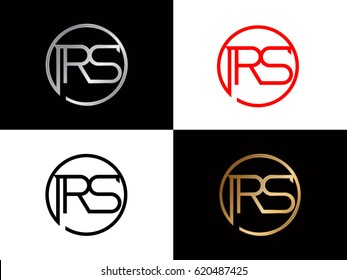 initial rs swoosh letter logo red and blue gold silver