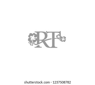 Initial RT Letter with Abstract Hibiscus Flower Swoosh Monogram Logotype