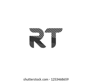 Initial RT Letter Abstract Stripes Transition Monogram Logotype