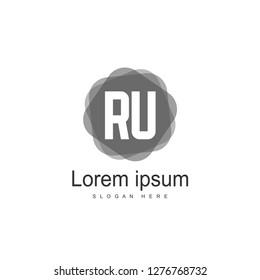 Initial RU Logo Template. Minimalist letter logo template design