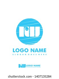 Initial RW negative space logo with circle template