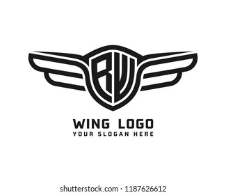 Initial RW wing logo template vector