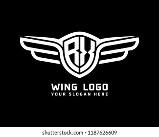 Initial RX wing logo template vector