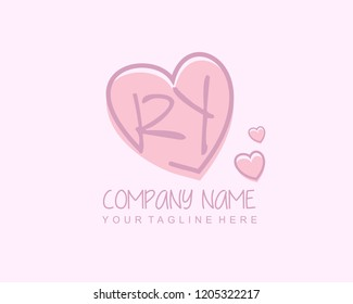 Initial RY with love logo template vector