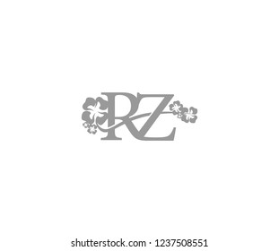 Initial RZ Letter with Abstract Hibiscus Flower Swoosh Monogram Logotype