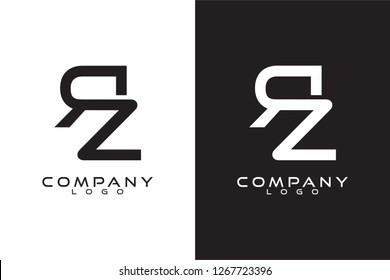 Initial rz Letter Logo Template Vector Design with black and white background