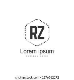 Initial RZ Logo Template. Minimalist letter logo template design