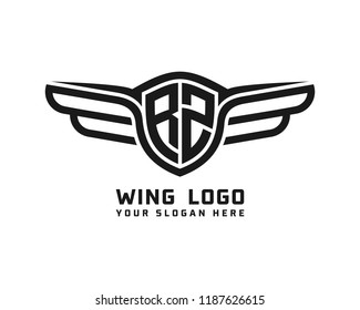 Initial RZ wing logo template vector