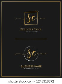 Initial S C SC handwriting logo vector. Letter handwritten logo template.