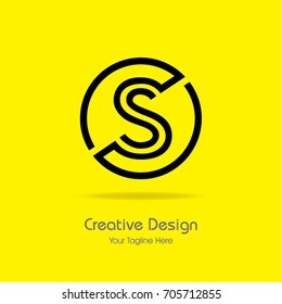 Initial S Circle Framed Letter Logo Design Vector with Black and Yellow Colors
