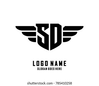 Initial S & D wing logo template vector