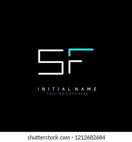 Initial S F minimalist modern logo identity vector