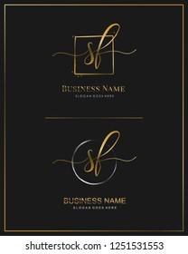 Initial S F SF handwriting logo vector. Letter handwritten logo template.