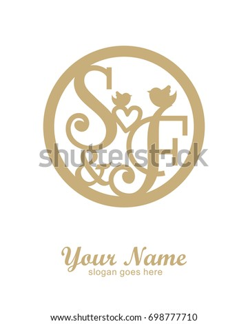 initial s f wedding logo template stock vector royalty free