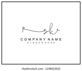 Initial S K handwriting logo template vector