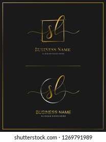 Initial S L SL handwriting logo vector. Letter handwritten logo template.