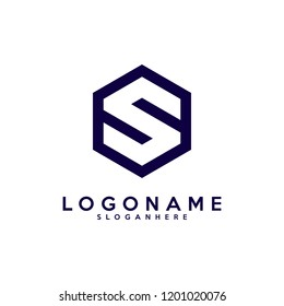 Initial S monogram. S box logo. Delivery logo. S letter in hexagon