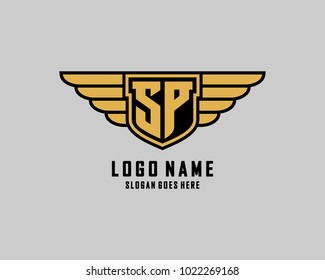 Initial S and P wing shield logo template vector