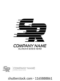 Initial S R speed line logo template vector