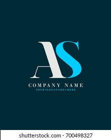 Initial A & S simple design logo template vector