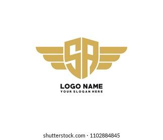 Initial SA wing logo template vector