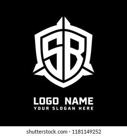 Initial SB abstract shield logo template vector