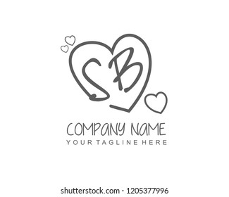 Initial SB with love logo template vector