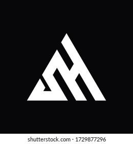 initial sH AH letter logo inside triangle black monogram