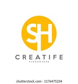 Initial SH logo concepts template vector