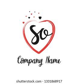 SO initial signature logo. handwriting logo template vector,