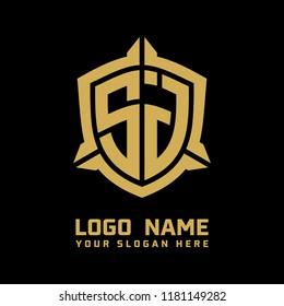 Initial SJ abstract shield logo template vector