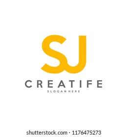 Initial SJ logo concepts template vector