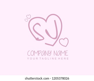 Initial SJ with love logo template vector