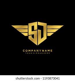 Initial SJ wing logo template vector