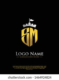 initial SM letter with shield style logo template vector