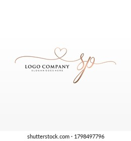 Initial SP beauty monogram and elegant logo design, handwriting logo of initial signature, wedding, fashion, floral and botanical with creative template.