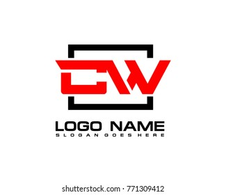 Initial square C & W logo template vector