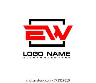 Initial square E & W logo template vector