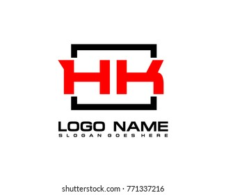 Initial square H & K logo template vector