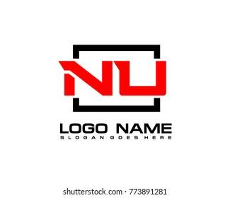 Initial square N & U logo template vector