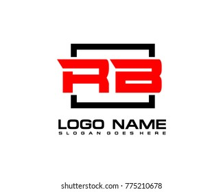 Initial square R & B logo template vector